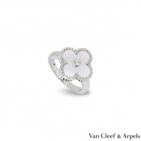 Van Cleef & Arpels White Gold Vintage Alhambra Ring VCARF48900